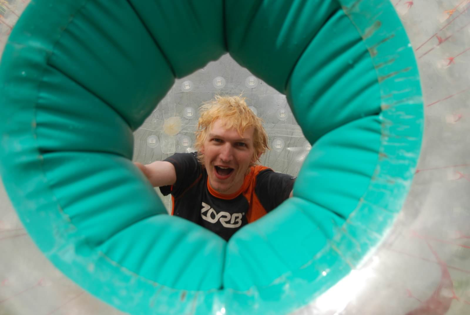 Jonny Blair zorbing in New Zealand
