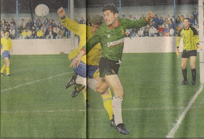 Gary Hillis in action - Bangor v Glentoran October 1990 Clandeboye Park