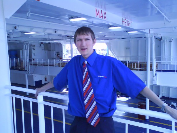 Jonny Blair Working on the Wightlink ferries from Lymington to Yarmouth in 2008