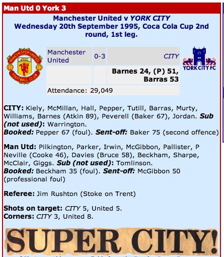 York City 3-0 Man United