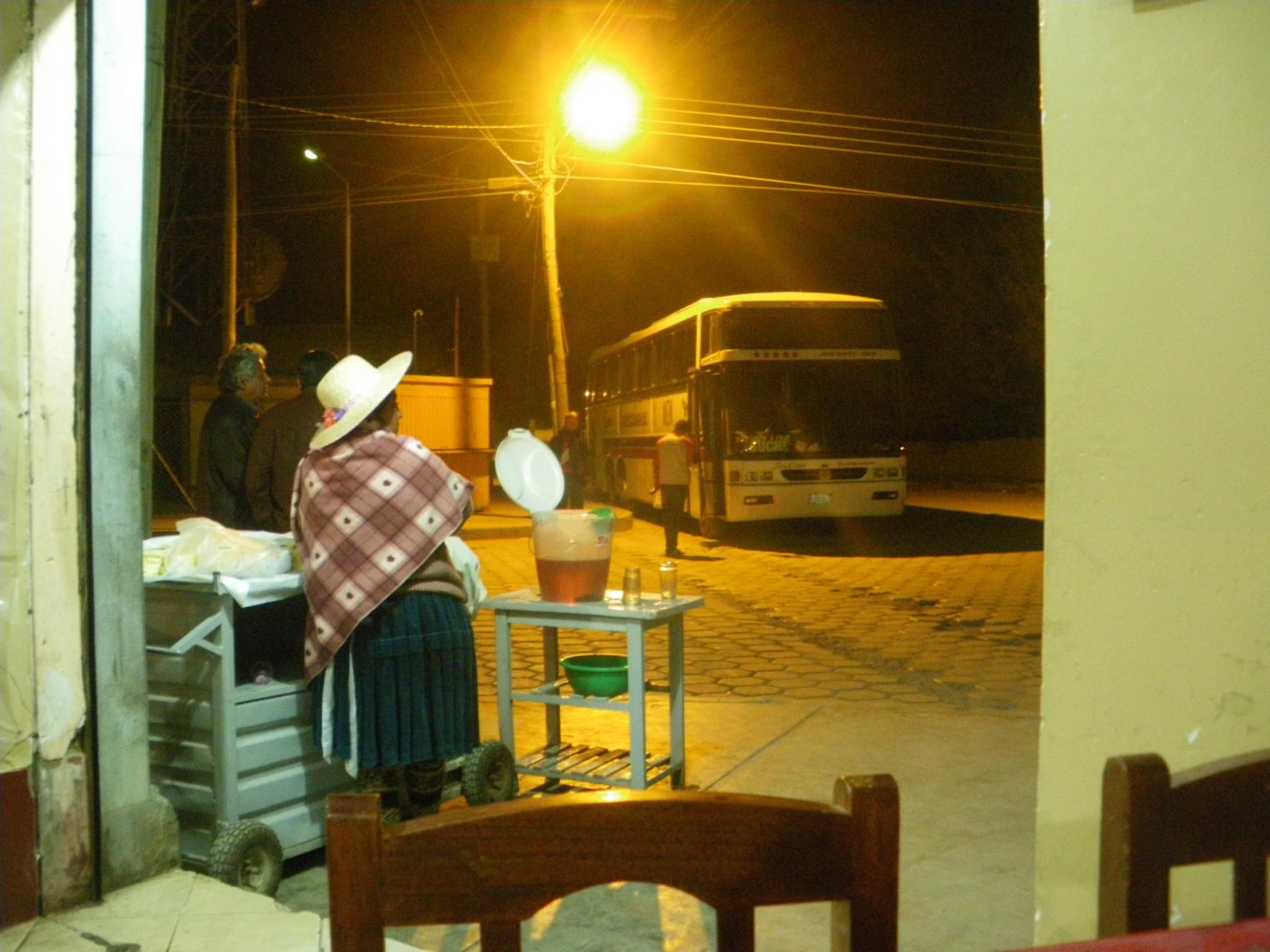 Jonny Blair on a nightbus from La Paz to Potosi in Bolivia
