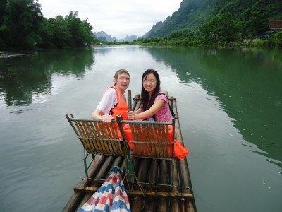 Sailing down a romantic river in China