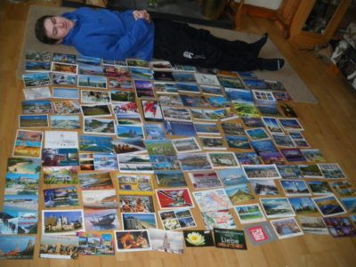 My kid brother and 'some' of his postcards I've posted him from around the world!