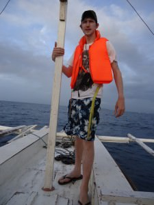 Jonny Blair living a lifestyle of travel on a boat in the Philippines