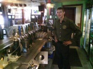 Jonny Blair working in PJ Gallagher's Irish Pub Parramatta
