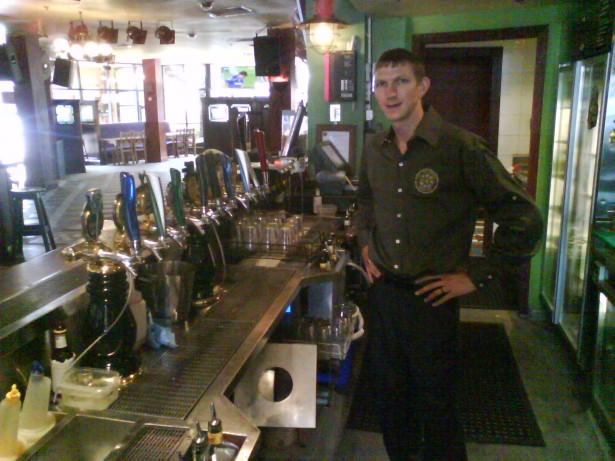 Jonny Blair working in PJ Gallagher's Irish Pub Parramatta