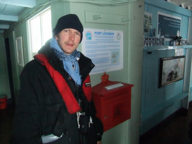 Jonny Blair at Port Lockroy in Antarctica