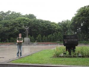 Jonny Blair at the Lenin Statue in Hanoi Vietnam living a lifestyle of travel