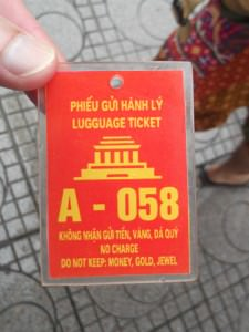 Ticket for leavibng your bag in at Ho Chi Minh Mausoleum complex