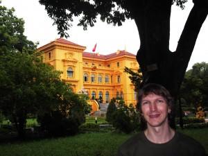 Jonny Blair outside the Ho Chi Minh Presidential Palace in Hanoi Vietnam