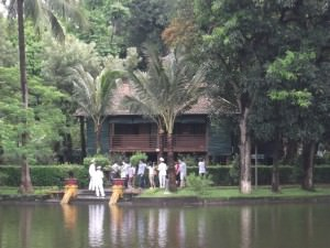 Ho Chi Minh house on stilts sits pretty overlooking a pond in Hanoi Vietnam