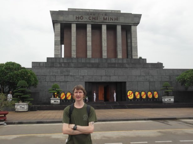 Jonny Blair at the Ho Chi Minh Mausoleum in Hanoi Vietnam a lifestyle of travel