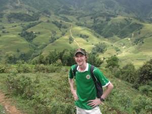 Jonny Blair hiking near Sapa in Vietnam living a lifestyle of travel