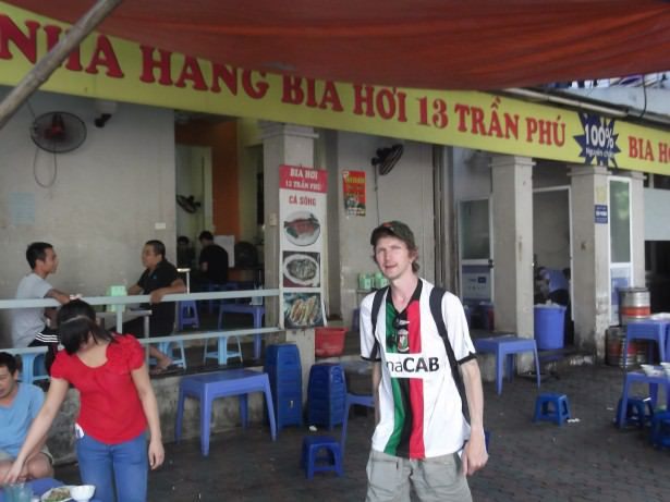 glentoran fan in bia hoi corner vietnam
