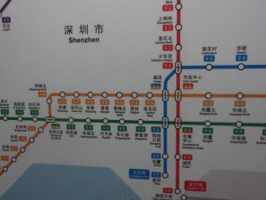 Shenzhen metro map - window of the world station.