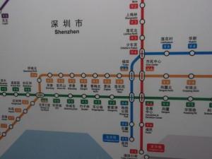 Shenzhen metro map - window of the world station.