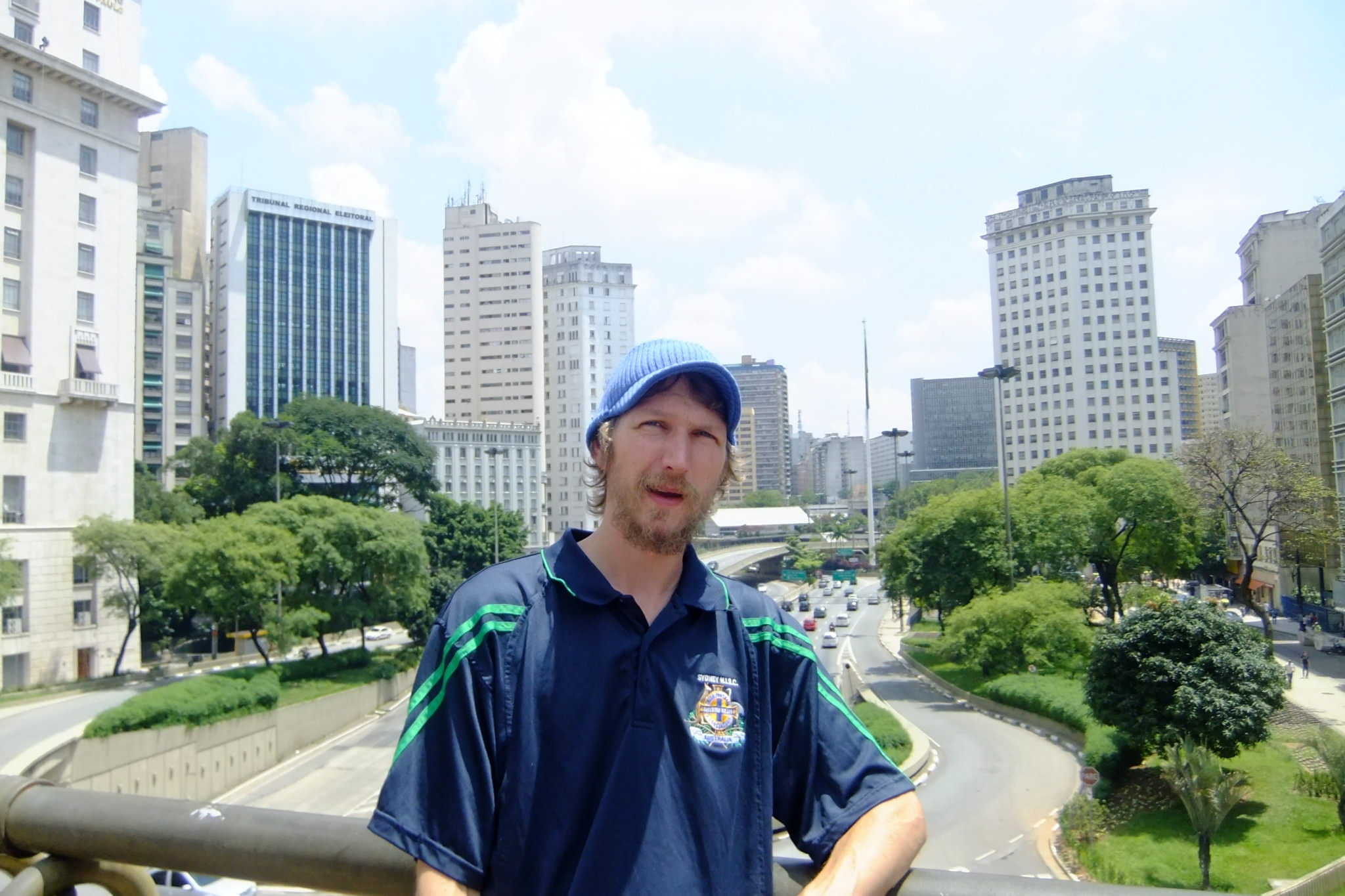 Jonny Blair in downtown Sao Paulo in Brazil - a lifestyle of travel