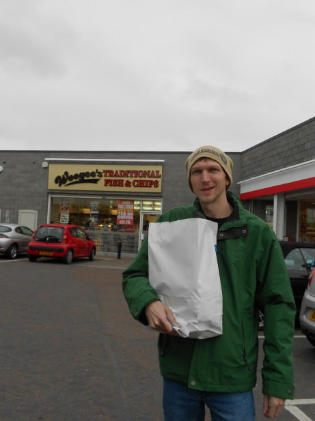 Jonny Blair in Bangor getting a pastie supper