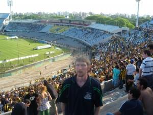 Jonny Blair supporting Penarol in Montevideo Uruguay