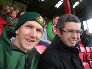Jonny Blair at the oval watching Glentoran he lives a lifestyle of travel