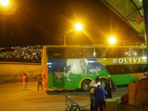 Jonny Blair living a lifestyle of travel on a nightbus from La Paz to Potosi in Bolivia