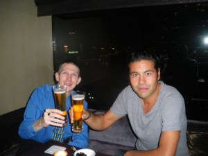 Jonny Blair lives a lifestyle of travel and enjoys a posh beer in the Upper House Hotel in Hong Kong