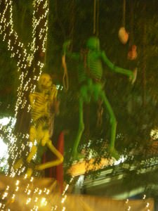 skeletons in lan kwai fong at halloween