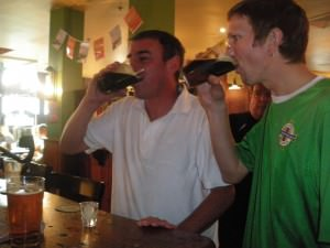 Jonny Blair drinking Irish Car bomb in Australia