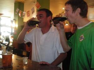 Jonny Blair drinking Irish Car bomb in Australia