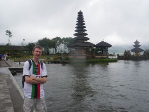 Jonny Blair at Ulun Danu - Temple on the Lake in Bedugul at north Bali