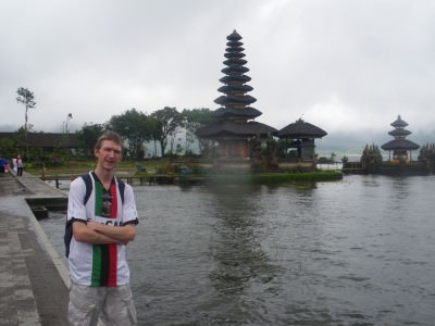 Jonny Blair at Ulun Danu - Temple on the Lake in Bedugul at north Bali