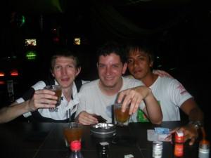 Jonny Blair with Rodrigo Coelho partying in Kalibukbuk in Lovina Bali enjoying the travel lifestyle