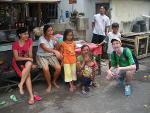 Jonny Blair with the locals in Singaraja in Bali, Indonesia - a lifestyle of travel