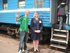 Jonny Blair boarding a train from Minsk to Bobruisk in 2007 living a lifestyle of travel