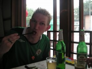 Jonny Blair in Bejing enjoying Peking Duck
