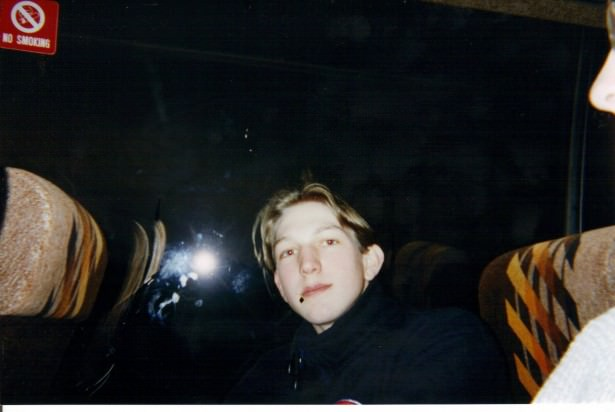 Jonny Blair on the Belfast to Dublin bus in 1997 living a lifestyle of travel
