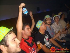 Jonny Blair winning the drinking competition in Buenos Aires
