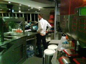 Jonny Blair pulling a mooner on cafe Cherbourg cross channel ferries
