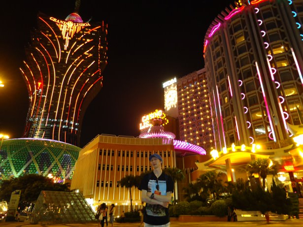 Jonny Blair at the bright lights of the city in Macau