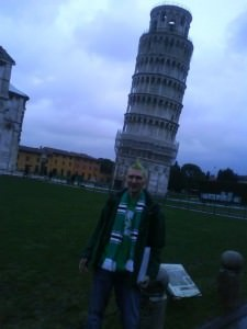 Jonny Blair of Dont Stop Living at the Leaning Tower of Pisa in Italy