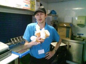 Jonny Blair holding Mr. Softees in Best Break Bournemouth