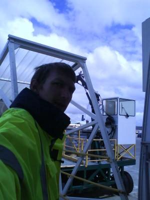 Jonny Blair working on the gangway on cross channel ferries in 2009