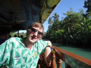 Jonny Blair at a floating restaurant in the Philippines