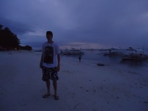Jonny Blair on Alona Beach in the Philippines