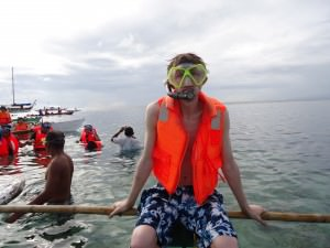Jonny Blair going snorkelling in the Philippines