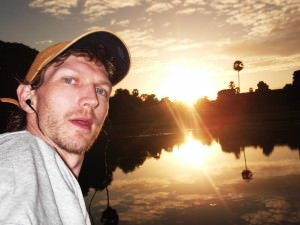 Jonny Blair of Dont Stop Living doing sunrise at Angkor Wat