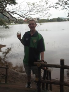 Jonny Blair drinking beer in Kurunegala Sri Lanka