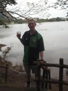 Jonny Blair drinking beer in Kurunegala Sri Lanka