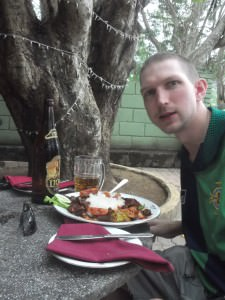 Jonny Blair trying devilled beef in Kurunegala
