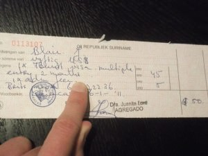 Receipt for Suriname Visa